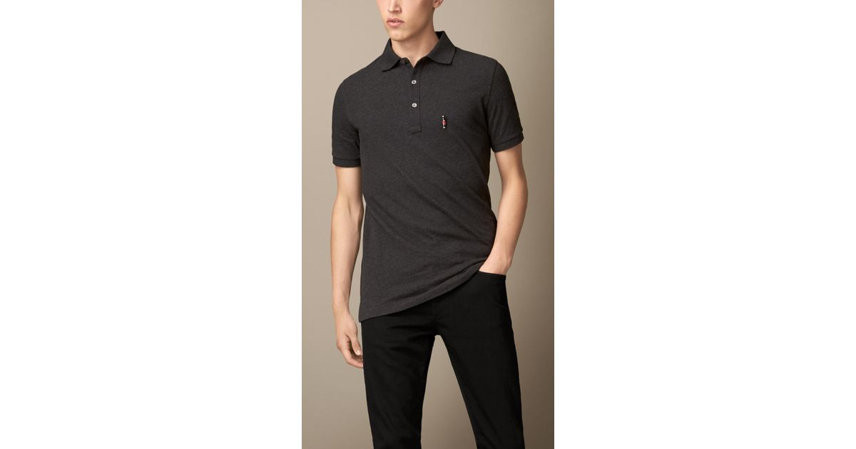 80f3abd8 Burberry Guardsman Pin Polo Shirt in Gray for Men - Lyst