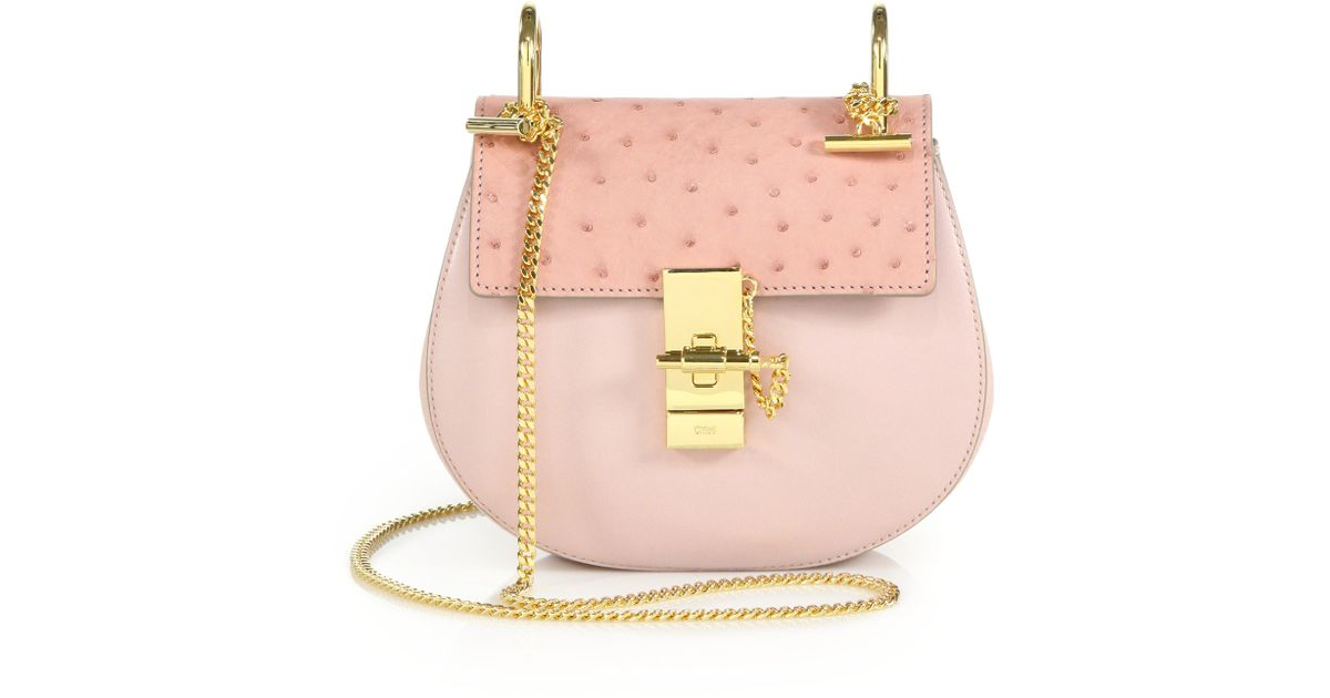Chlo¨¦ Drew Mini Ostrich \u0026amp; Leather Crossbody Bag in Pink ...