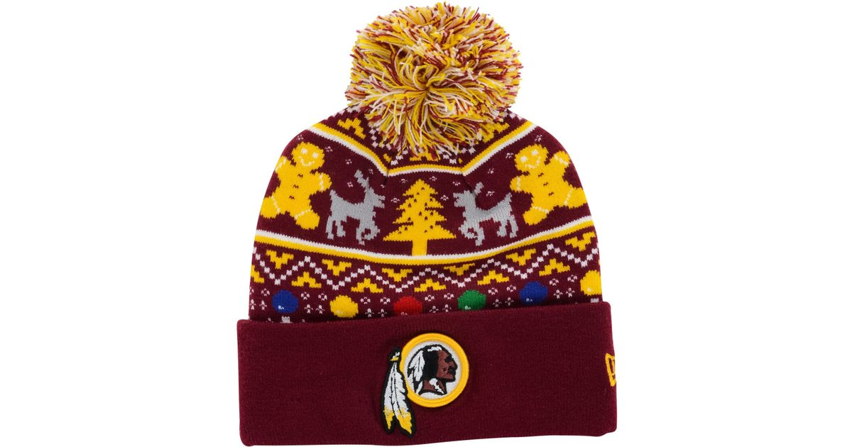 a84786bec Lyst - KTZ Washington Redskins Christmas Sweater Pom Knit Hat in Purple for  Men