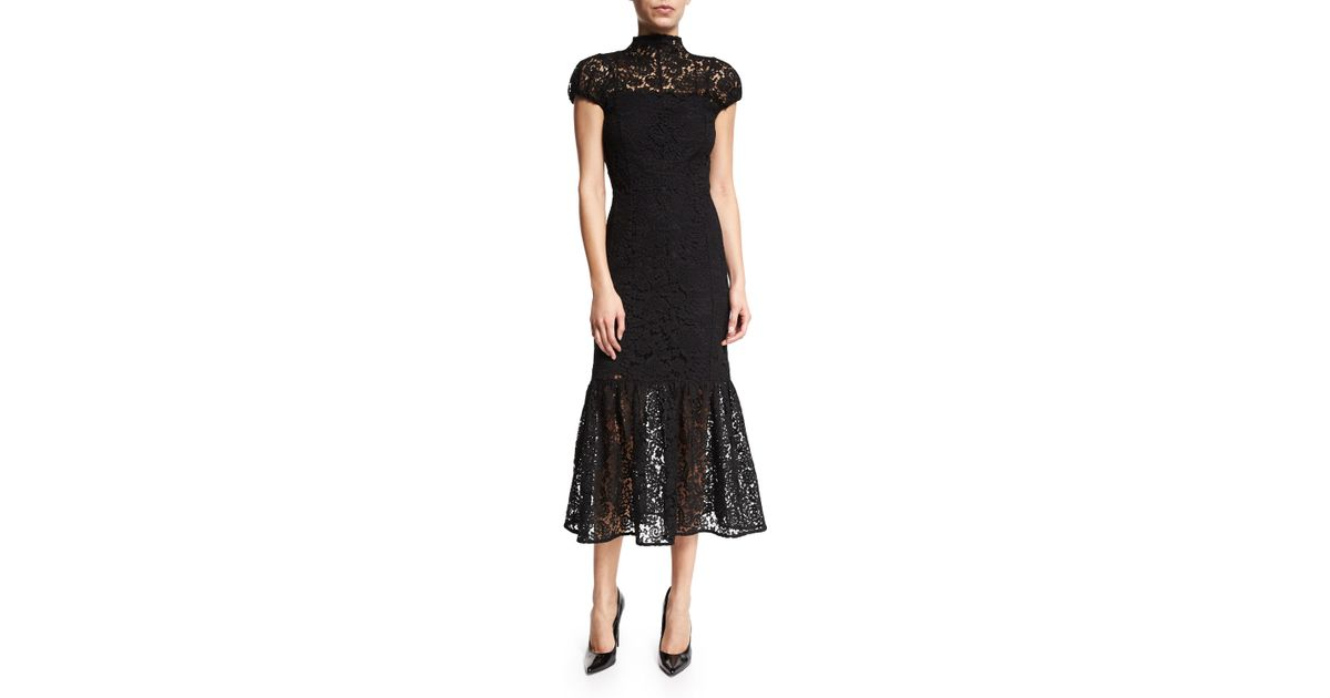 Lyst Victoria Beckham Cap Sleeve Mock Neck Lace Midi Dress In Black