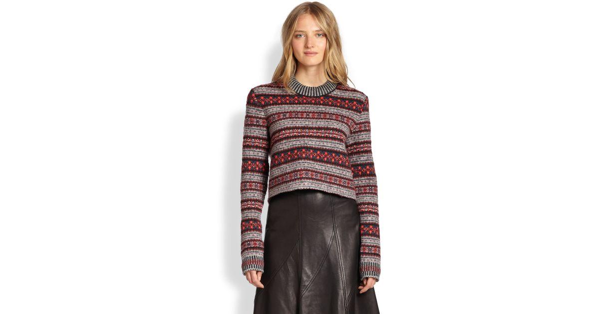 Rag & bone Hailey Cropped Fair Isle Sweater in Red | Lyst