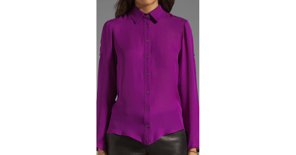 79a540f50a7679 Lyst - Jay Godfrey Mellon Lace Up Blouse in Dahlia in Purple