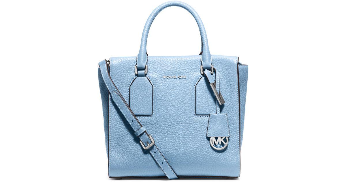michael kors selby medium leather satchel in blue light sky lyst. Black Bedroom Furniture Sets. Home Design Ideas