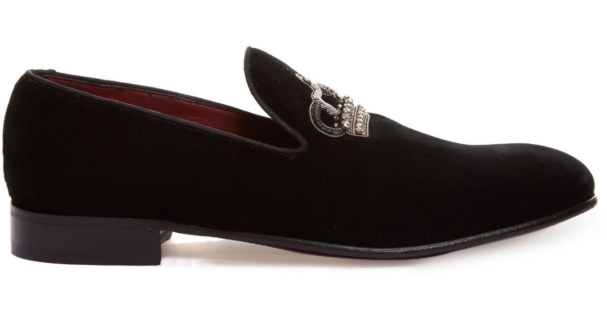 dolce gabbana embroidered crown velvet shoes in black