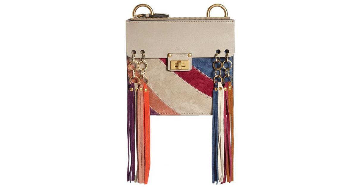 Chlo�� \u0026#39;small Jane\u0026#39; Suede Fringe Patchwork Leather Crossbody Bag in ...