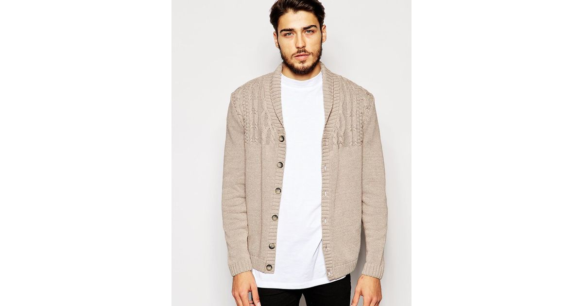 bb9dad99022 Lyst Asos Cable Cardigan With Shawl Neck In Gray For Men
