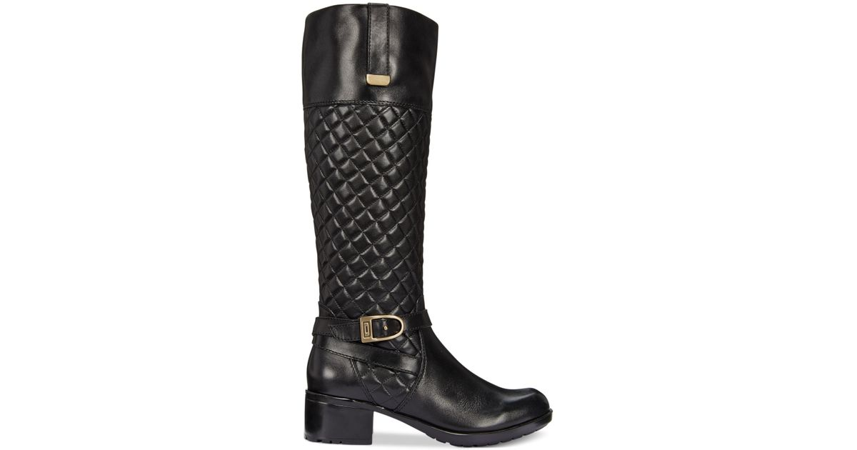d7de91d48f5 Lyst - Bandolino Blushe Quilted Wide Calf Riding Boots in Black