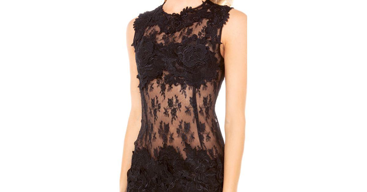 Lyst akira black label lace applique sheer dress in black in black