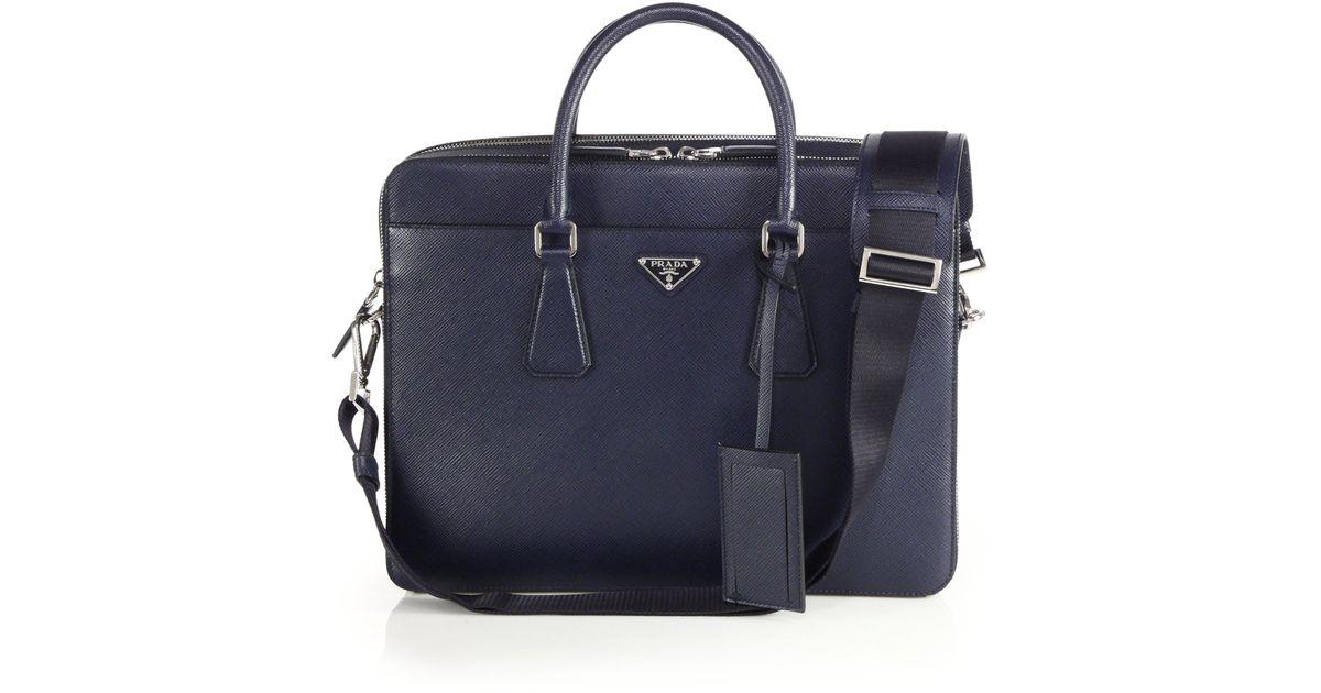 614a6ead45f668 Prada Saffiano Travel Briefcase in Blue for Men - Lyst