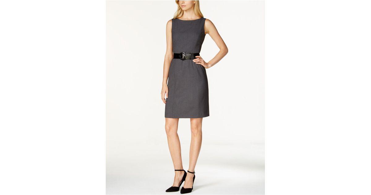 29c8049c221b Tahari Sleeveless Belted Sheath Dress in Gray - Lyst
