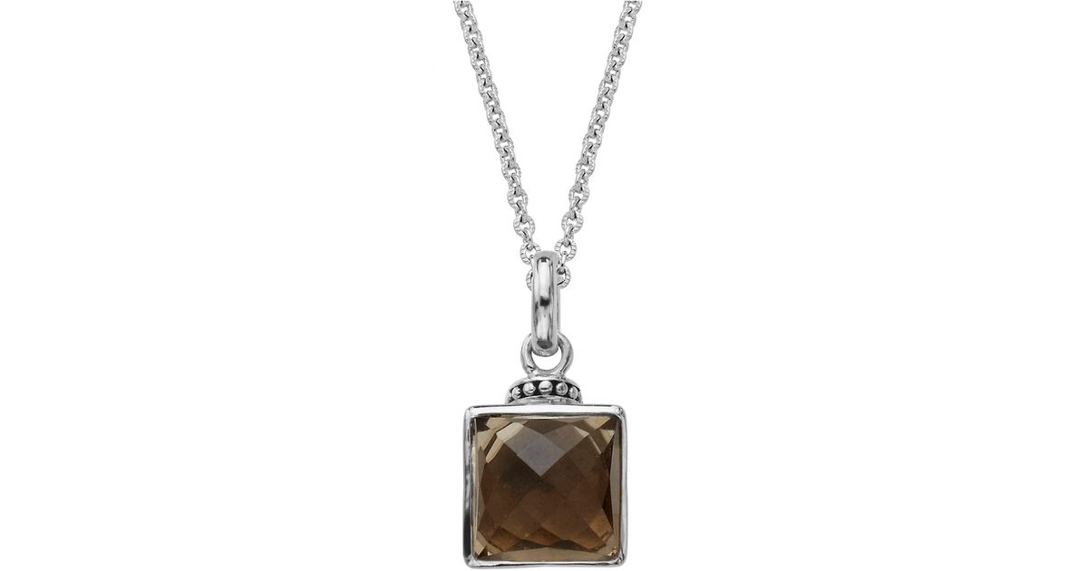 Lyst lord taylor sterling silver and smoky quartz pendant lyst lord taylor sterling silver and smoky quartz pendant necklace in metallic aloadofball Image collections