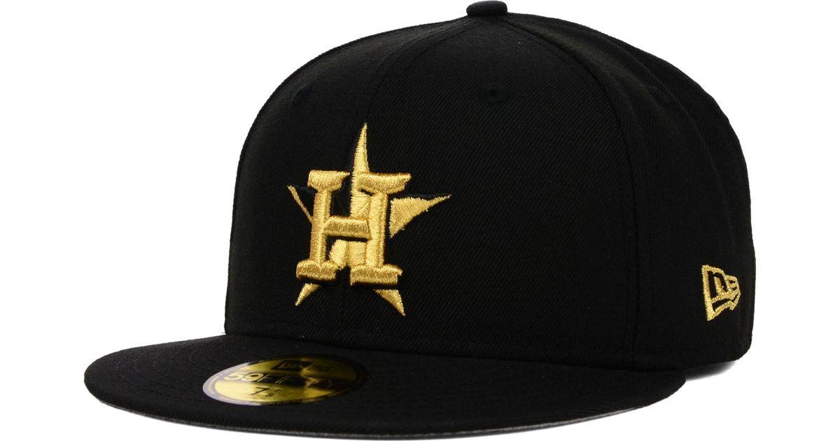 332b8277416 ... sweden lyst ktz houston astros gold 59fifty cap in black for men f81ca  02ad1