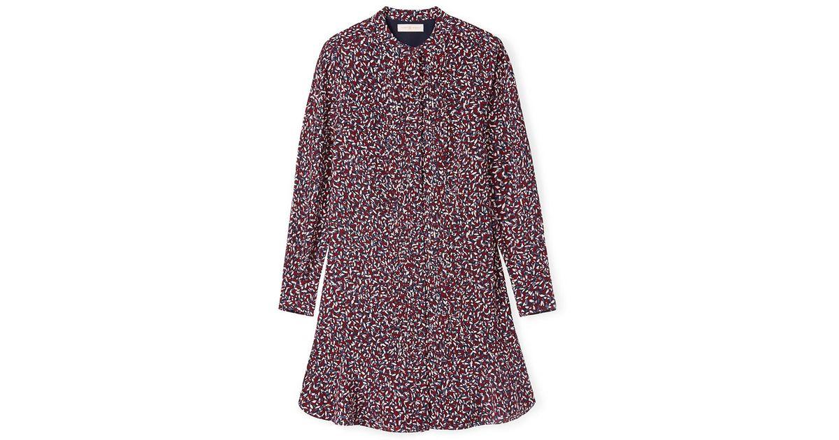 916f96d4b05b Tory Burch Pleated Silk Shirtdress - Lyst