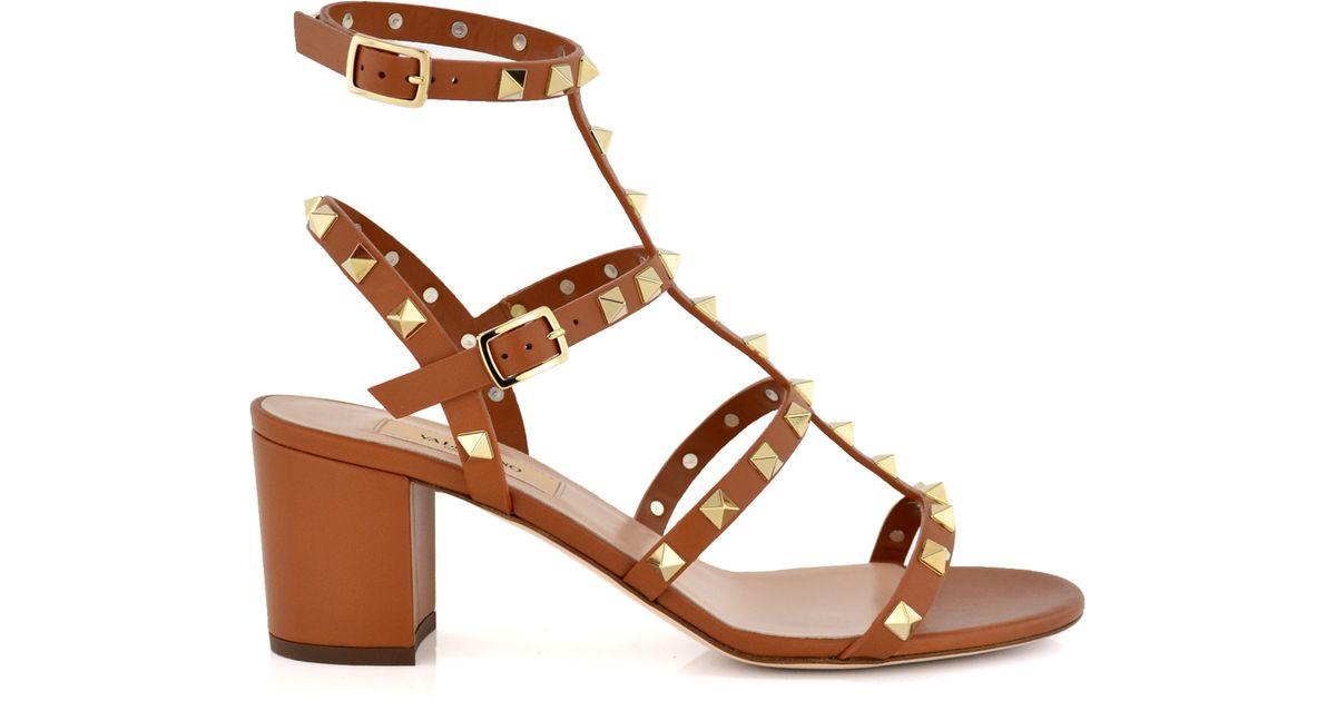 Lyst - Valentino Cognac Rockstud Chunky Heel Sandal in Brown