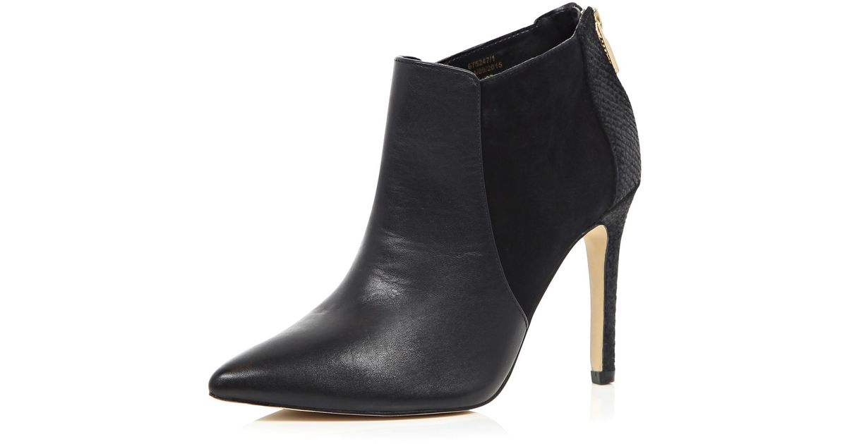 river island black leather pointed heeled ankle boots in