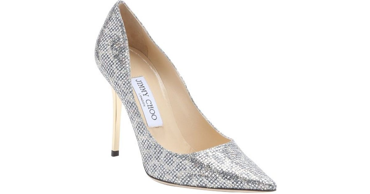 37ac7571b ... uk lyst jimmy choo champagne leopard print glitter fabric abel stiletto  pumps in metallic da12e d79aa