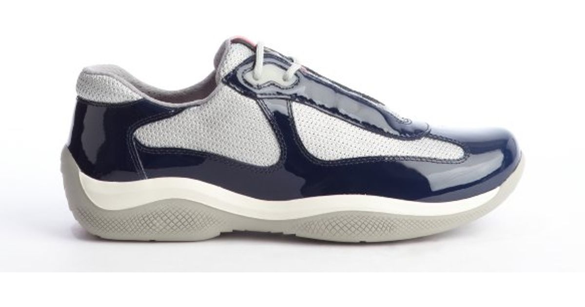 Prada Navy and Silver Patent Leather Mesh Sneakers in Blue for Men ...