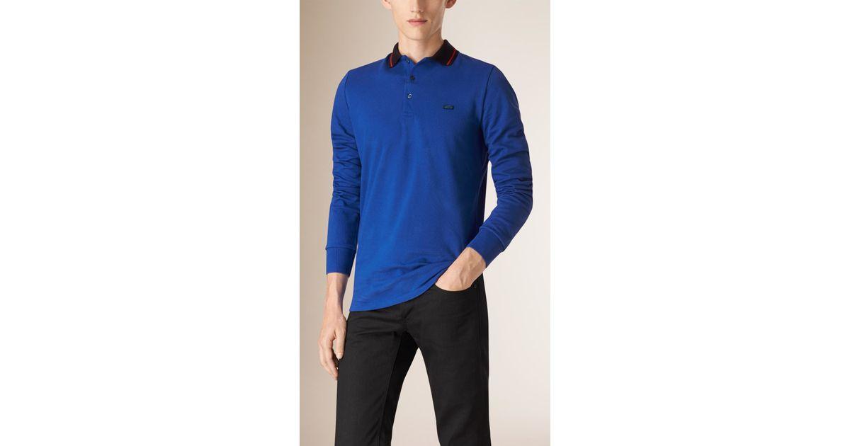 Burberry contrast tipping cotton piqu polo shirt bright for Cobalt blue polo shirt