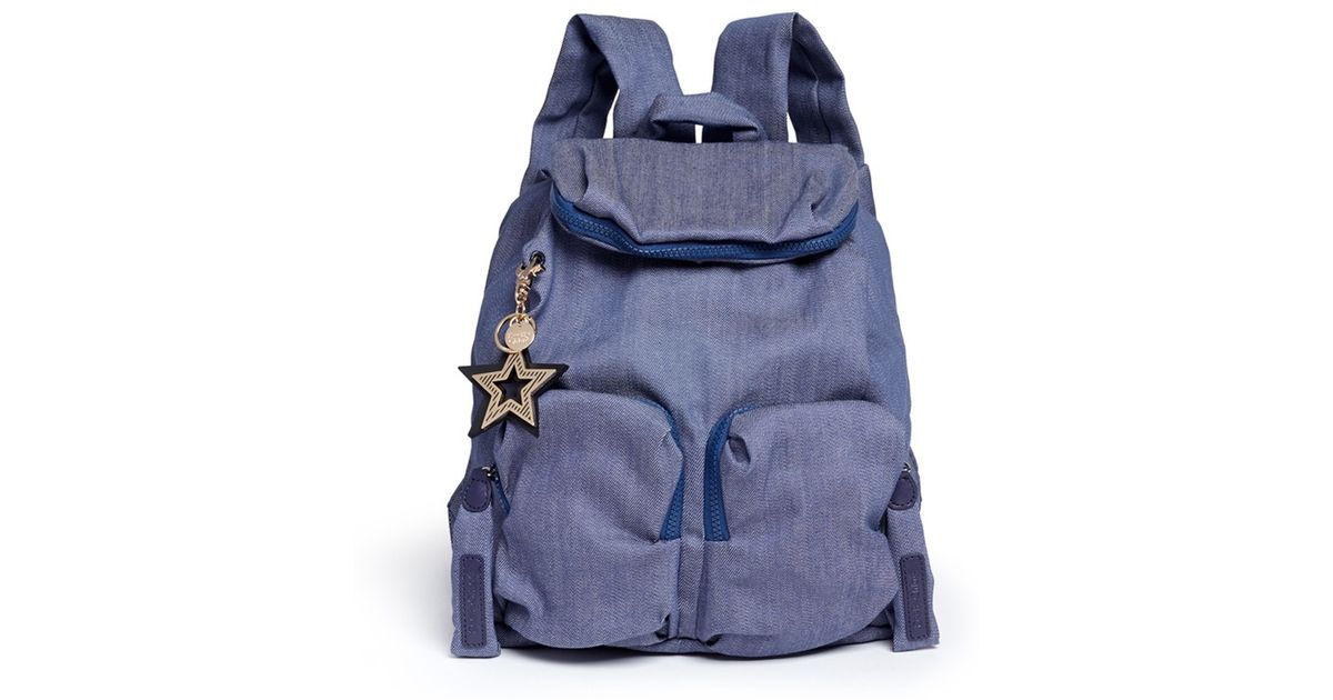 Lyst - See By Chloé  joy Rider  Cotton Denim Backpack in Blue 074326a0b997f