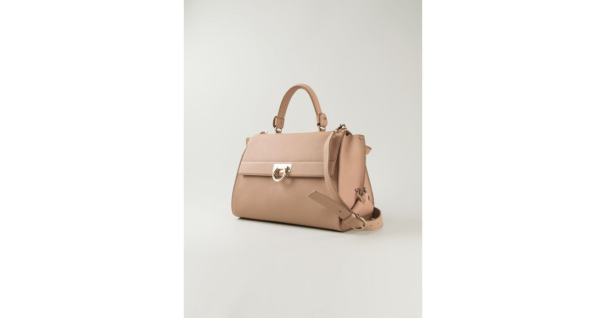 c65b96832b0d Lyst - Ferragamo Sofia Satchel in Natural