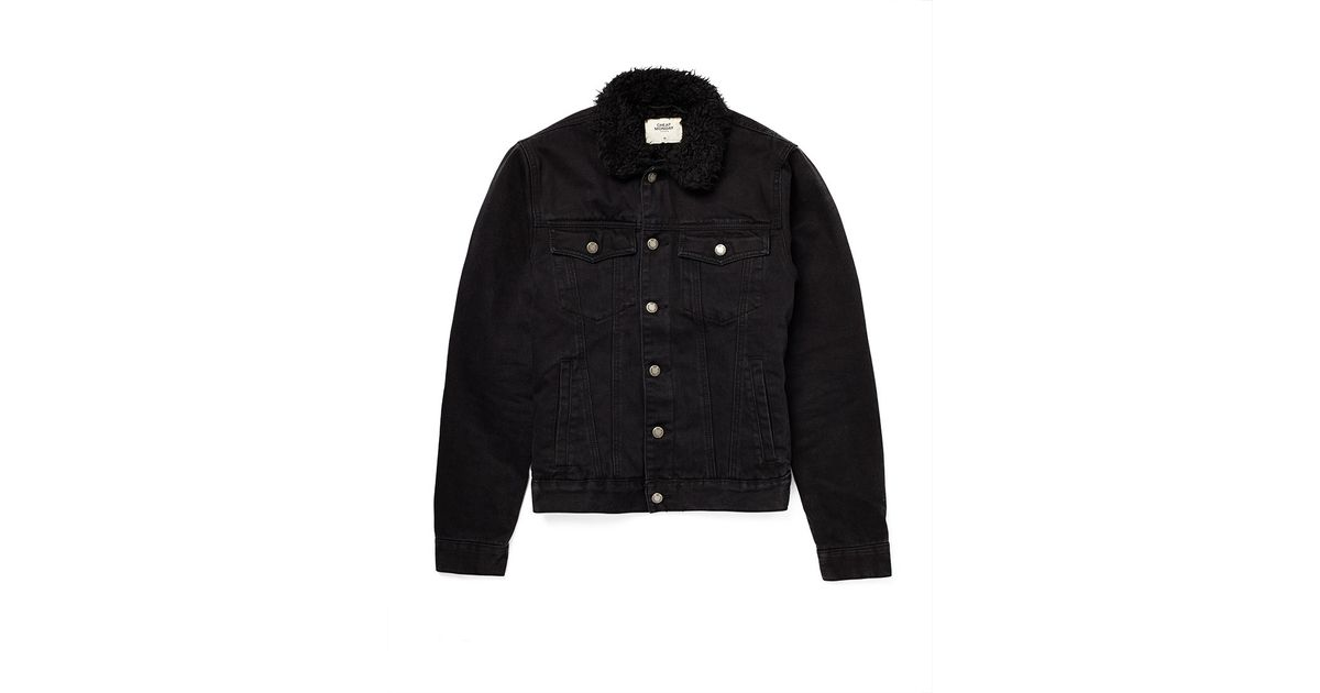 9f8c11df0af5 Lyst - Cheap Monday Denim Jacket With Faux Fur Lining in Black for Men
