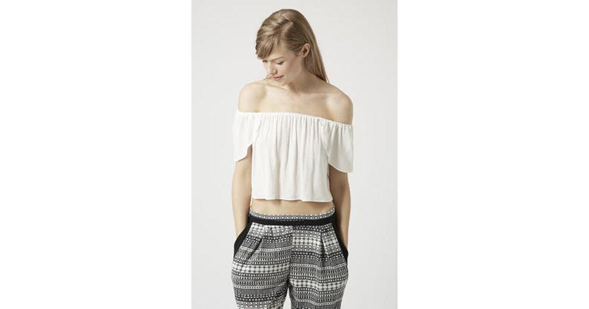 8937c04b1cb0d Lyst - TOPSHOP Petite Wrap Back Bardot Top in White