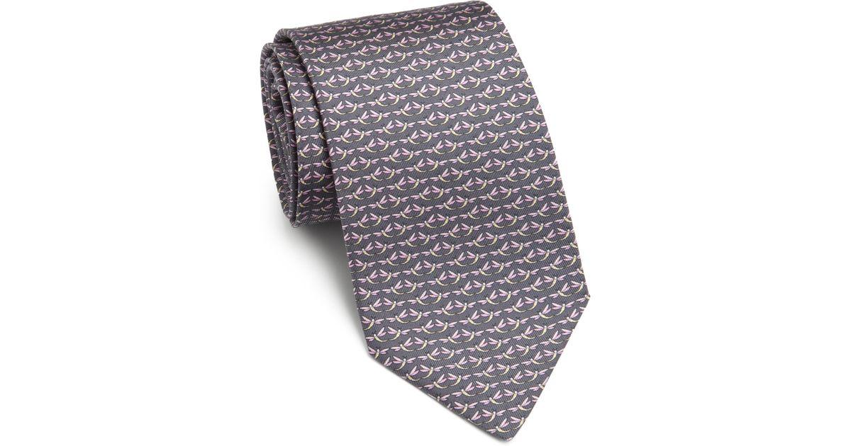 dc409c3ccac0 Lyst - Ferragamo Dragonfly Silk Tie in Gray for Men