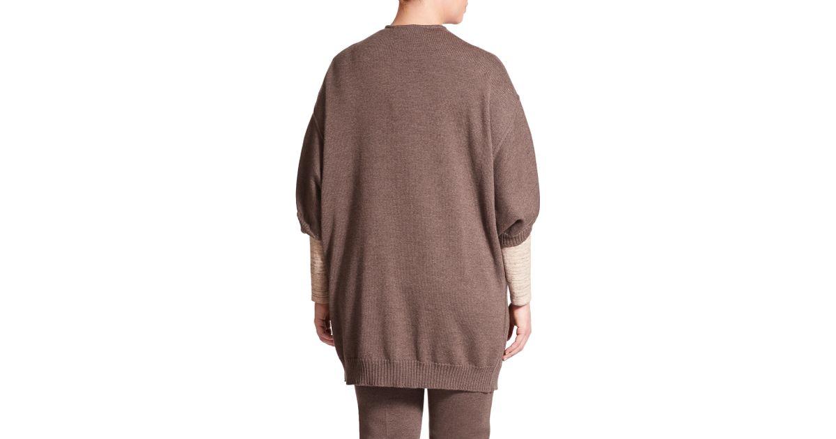Stizzoli Wool Cocoon Cardigan in Brown | Lyst