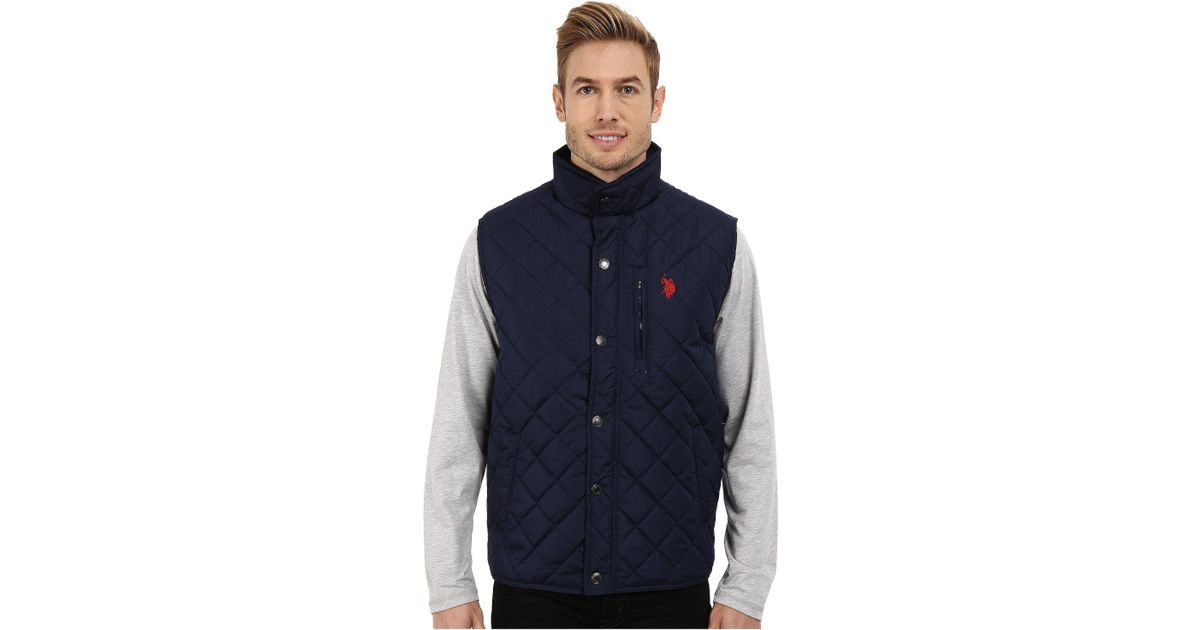 Lyst - U.s. polo assn. Diamond Quilted Vest With Corduroy Collar ... : polo quilted vest - Adamdwight.com