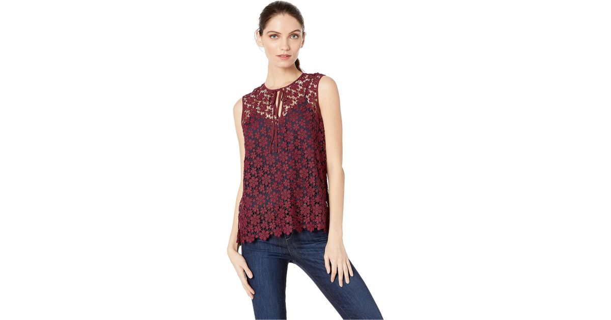 7c7774b7daa1f Lyst - Juicy Couture Lydia Guipure Lace Sleeveless Top in Red