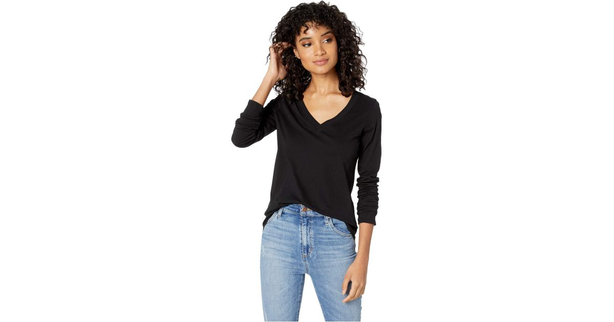 c785bbd3 Lyst - Lamade Long Sleeve V-neck In Tissue Jersey in Black