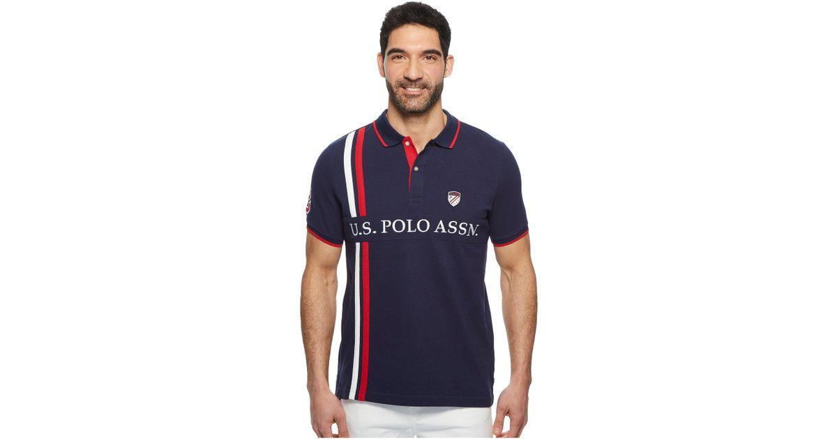 04f6ae267134 U.S. POLO ASSN. Vertical Stripe Uspa Patch Polo Shirt in Blue for Men - Lyst