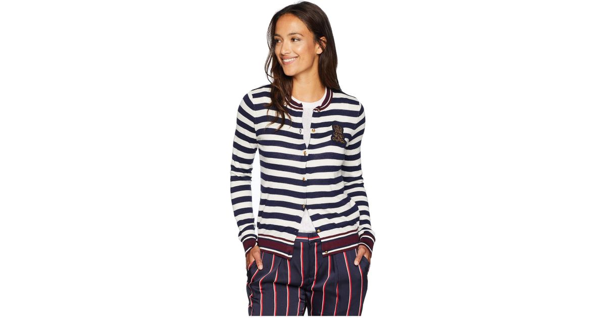 c8d7616863 Lyst - Lauren By Ralph Lauren Petite Bullion-patch Cotton Cardigan in Blue