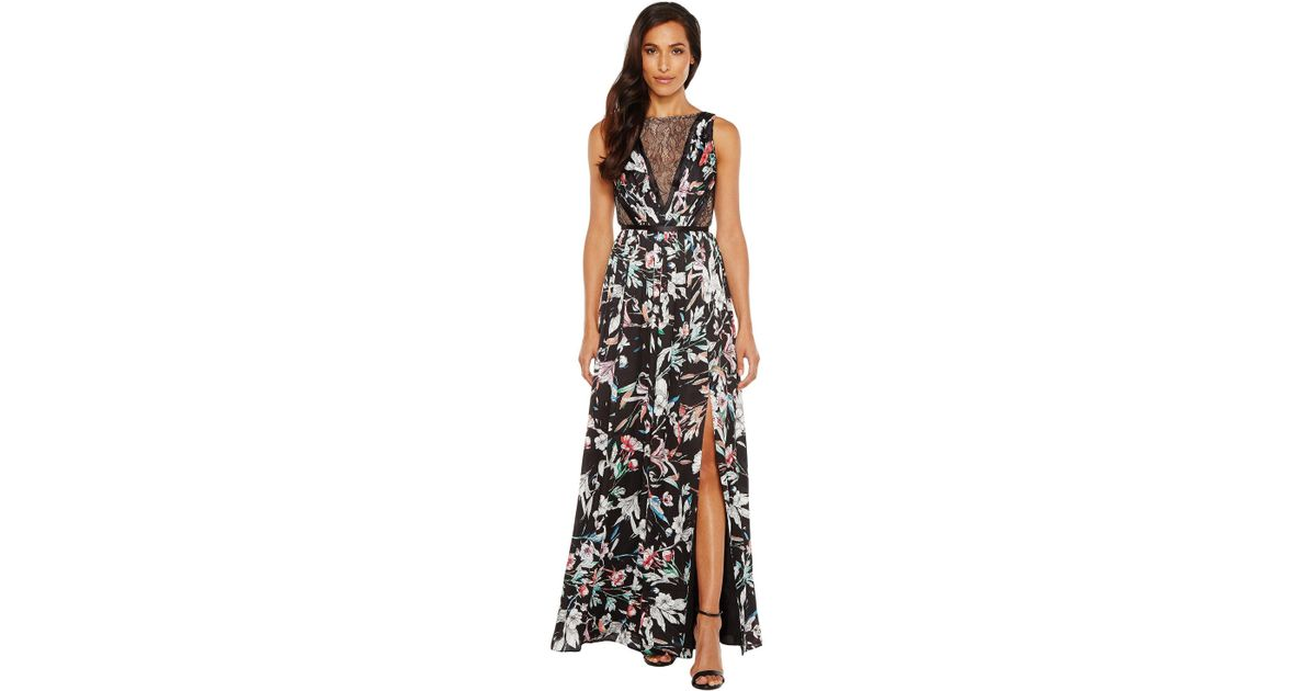 Lyst - Adrianna Papell Print Satin Chiffon Gown in Black