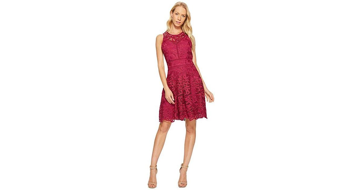 Adelyn Rae Dylan Fit And Flare Dress Magenta Dress In