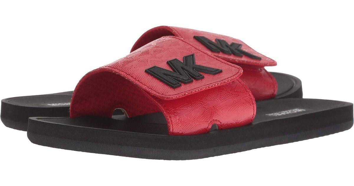 25f7b50a31b6 Lyst - MICHAEL Michael Kors Mk Slide in Red