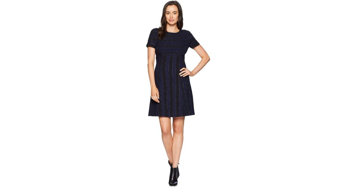 a383f9b180394 Lyst - Tahari Short Sleeve Boat Neck Fit And Flare Dress in Blue