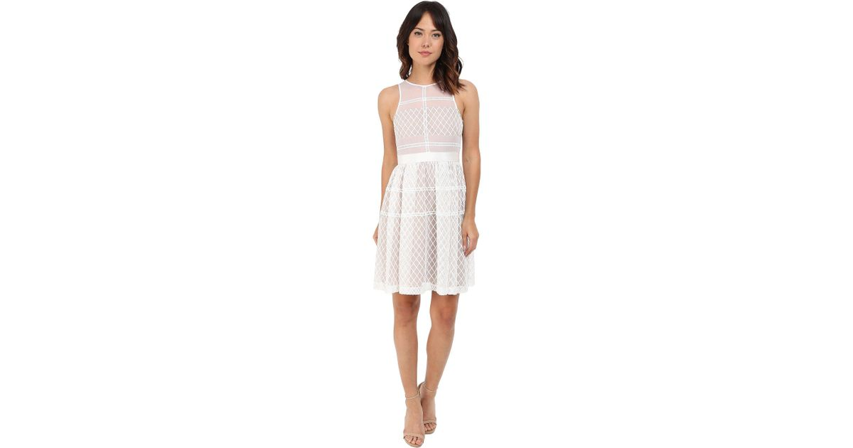14e087be496bc Donna Morgan Sleeveless Novelty Organza Fit And Flare in White - Lyst