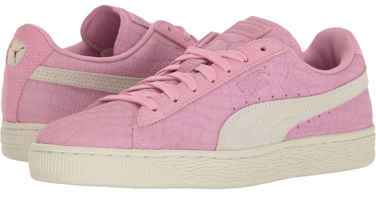 ec4ebce18bc7 Lyst - PUMA Suede Classic Croc Emboss in Pink