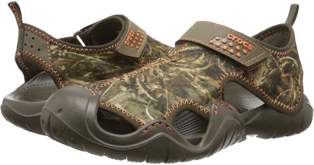 dceef7cc3f065 Lyst - Crocs™ Swiftwater Realtree Max 5 Sandal in Brown for Men