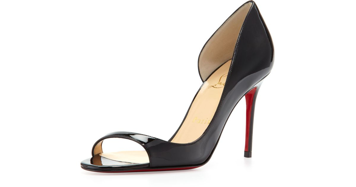 3a78a6788318 ... promo code for lyst christian louboutin toboggan peeptoe patent red  sole pump black in black 4e044 ...