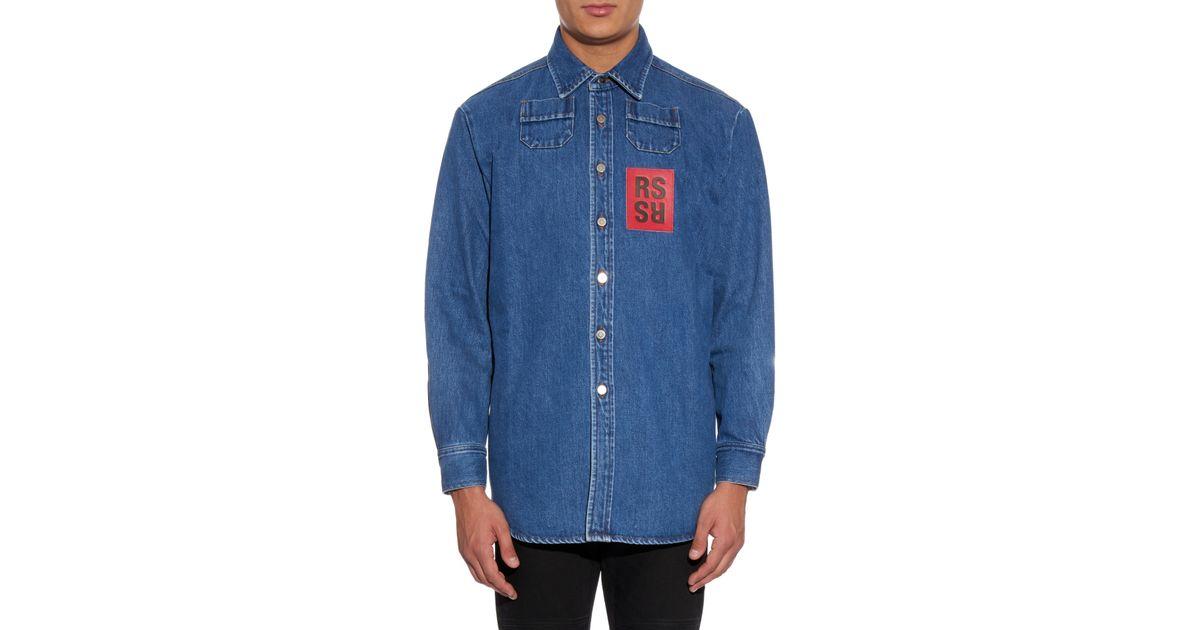 d0c329dc8 Raf Simons Oversized Denim Shirt in Blue for Men - Lyst