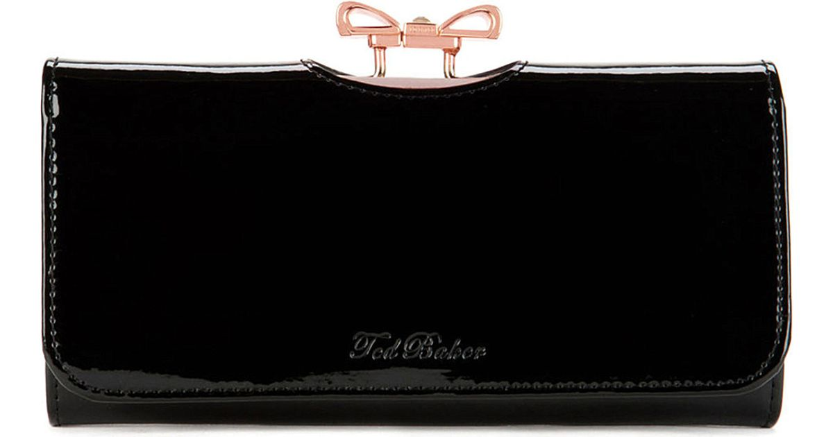 9f0a725dee530e Ted Baker Lindar Crystal Bow Matinee Purse Jet in Black - Lyst