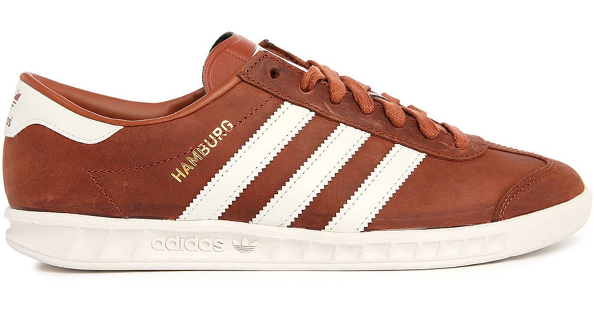 Adidas Originals Hamburg Burgundy/white Suede Sneakers In