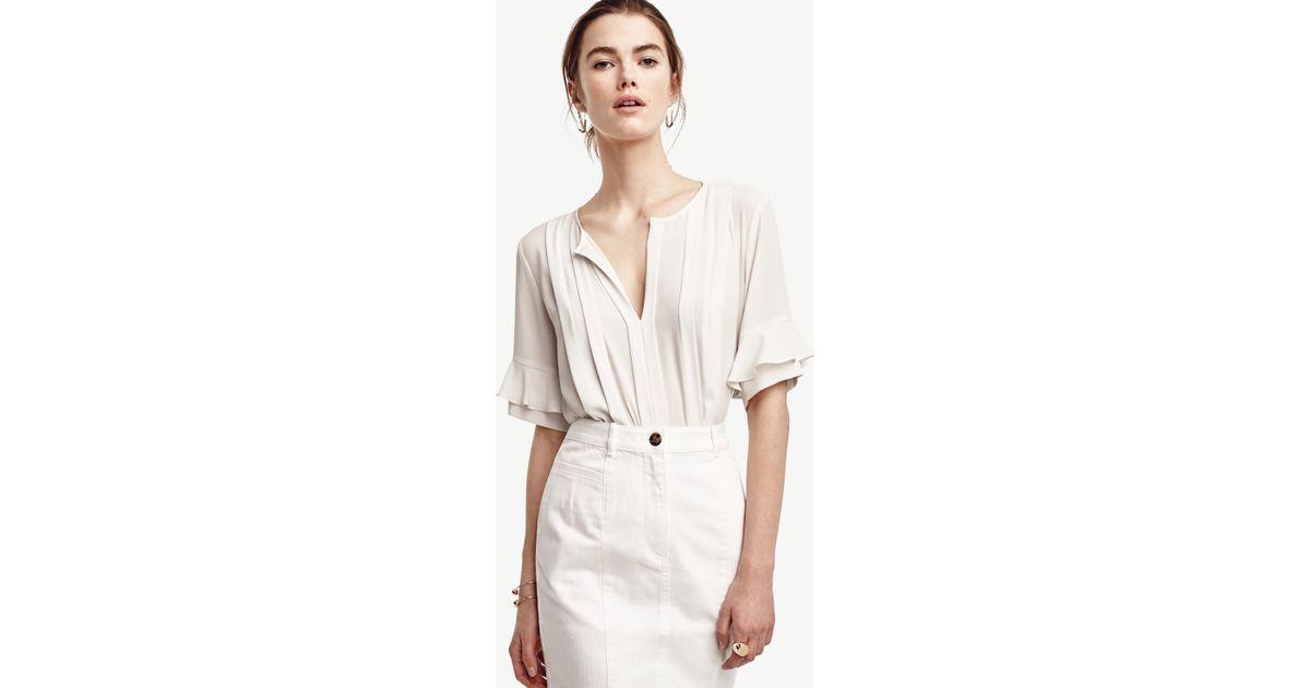 8204a48c0fc944 Lyst - Ann Taylor Petite Ruffle Sleeve Pintuck Tee in White