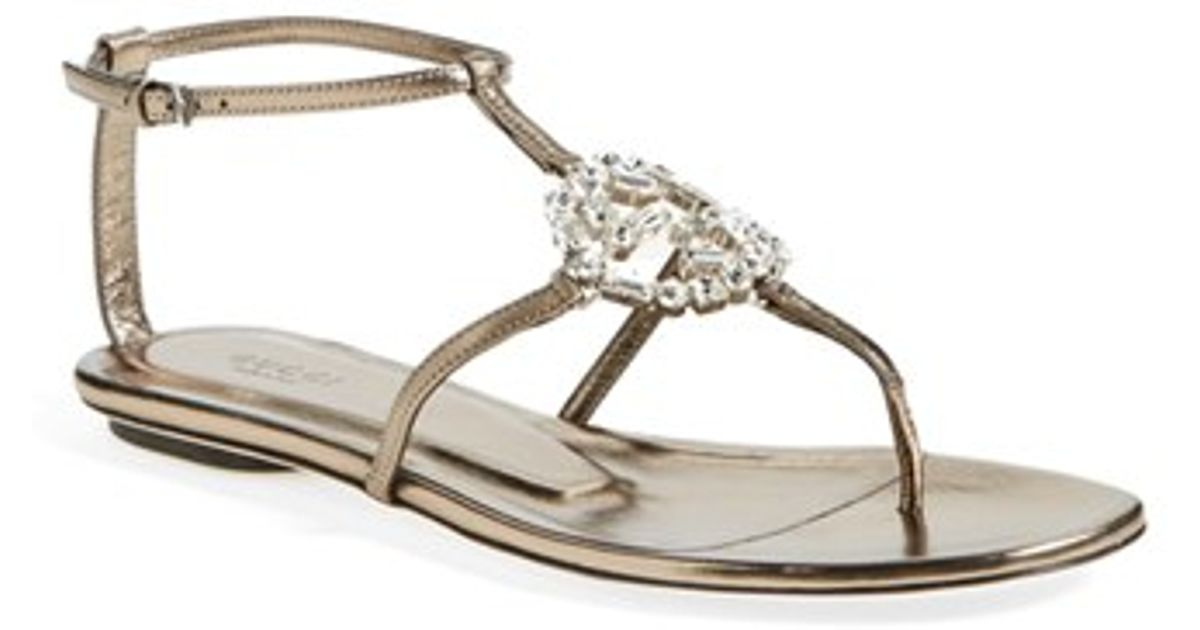 a66842ffa49 Lyst - Gucci  gg  Crystal Thong Sandal in Natural