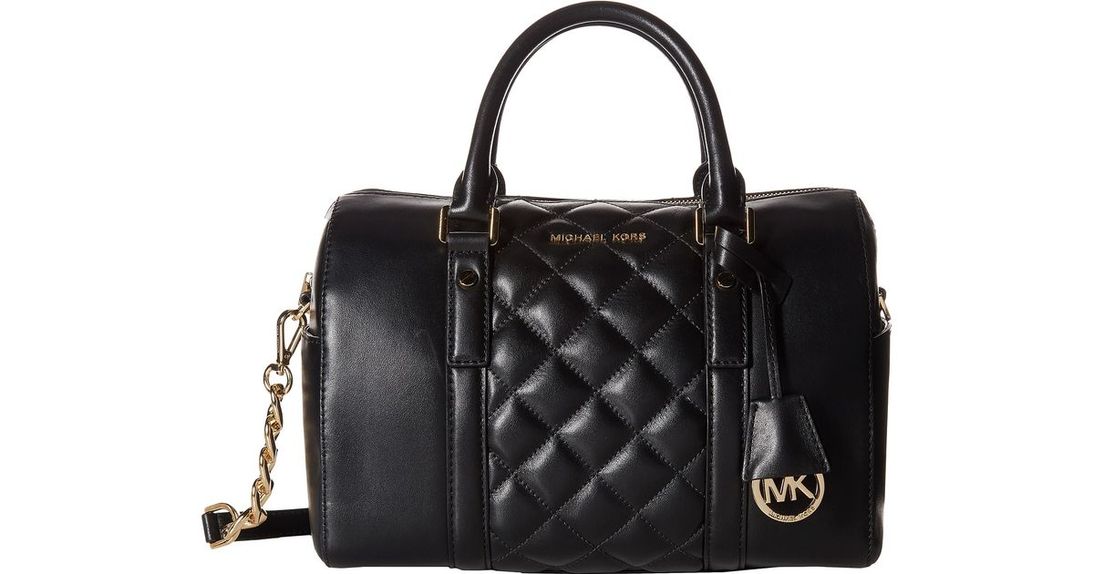 lyst michael michael kors grayson quilt medium chain satchel in black rh lyst com