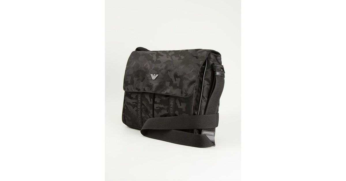 831aa8c2fc48 Lyst - Emporio Armani Camouflage Messenger Bag in Black for Men