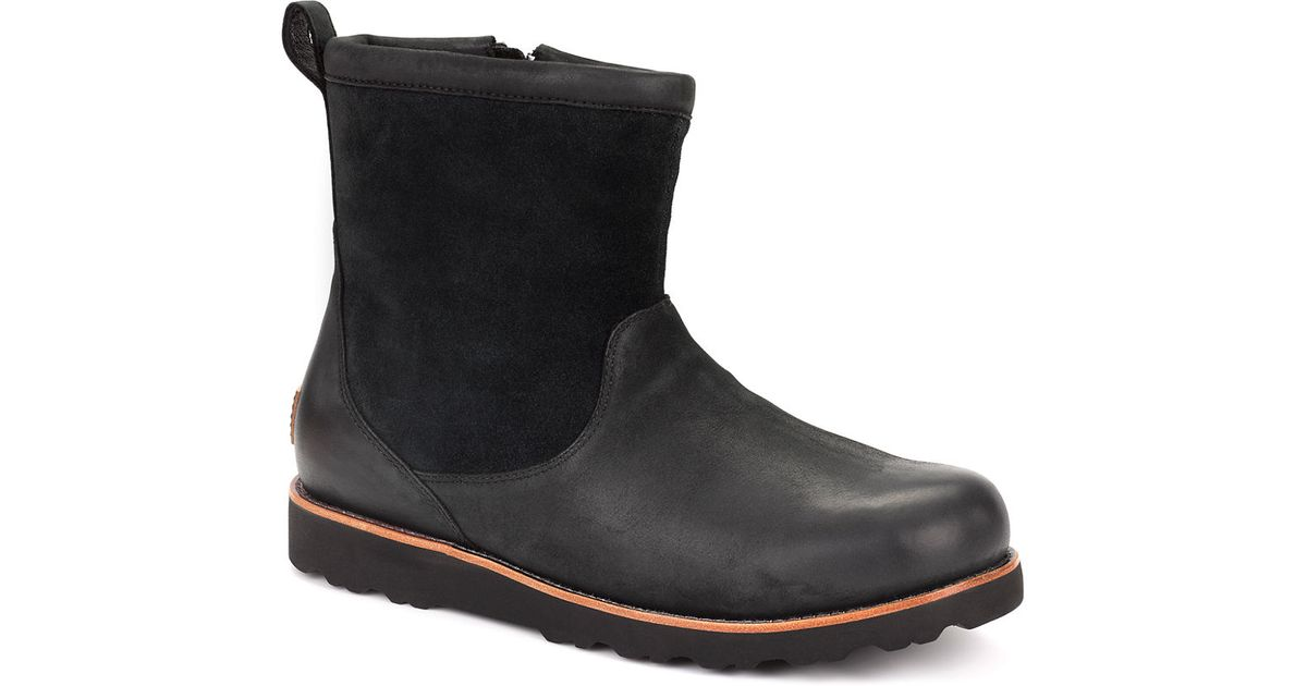 ugg munroe leather and suede ankle boots in black for