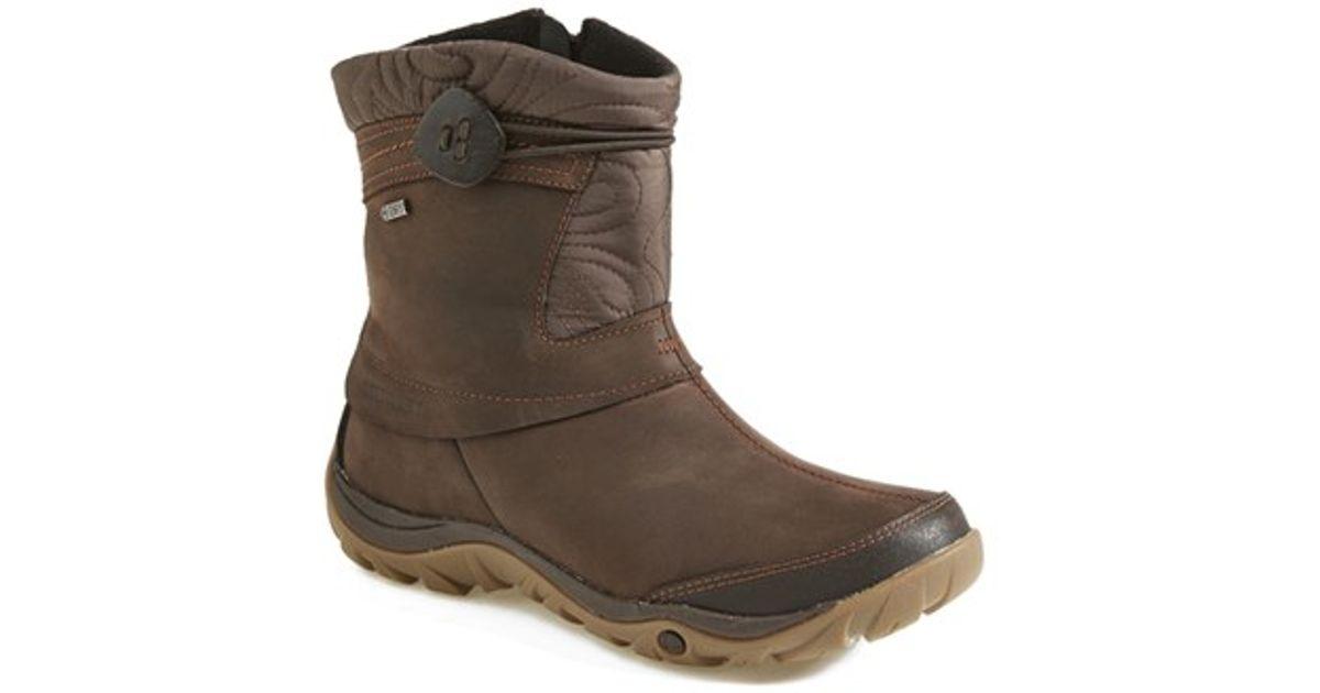 merrell dewbrook waterproof leather boot in brown lyst